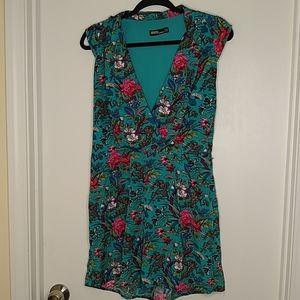 Asos floral & bird print mini dress with pockets